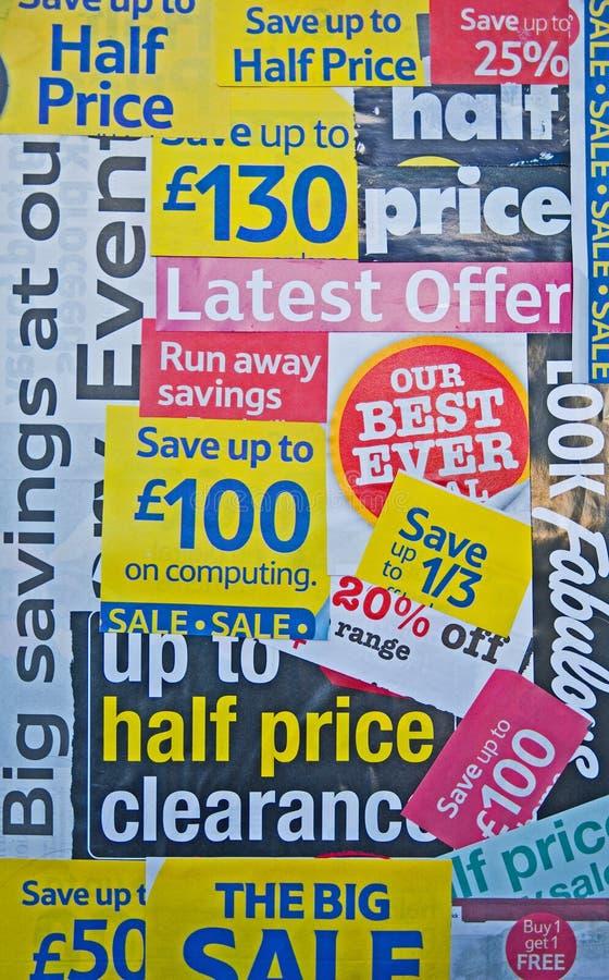 экстренныйый выпуск цен предложений уменьшенный рецессией стоковое изображение