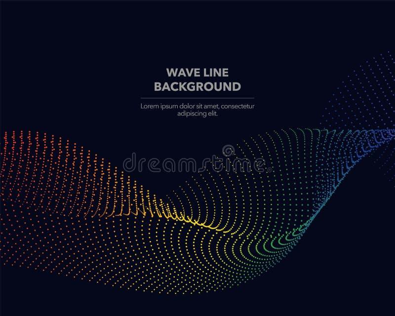 Элегантная абстрактная линия точки волны градиента радуги спектра вектора иллюстрация вектора