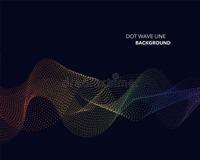 Элегантная абстрактная линия точки волны градиента радуги спектра вектора иллюстрация штока
