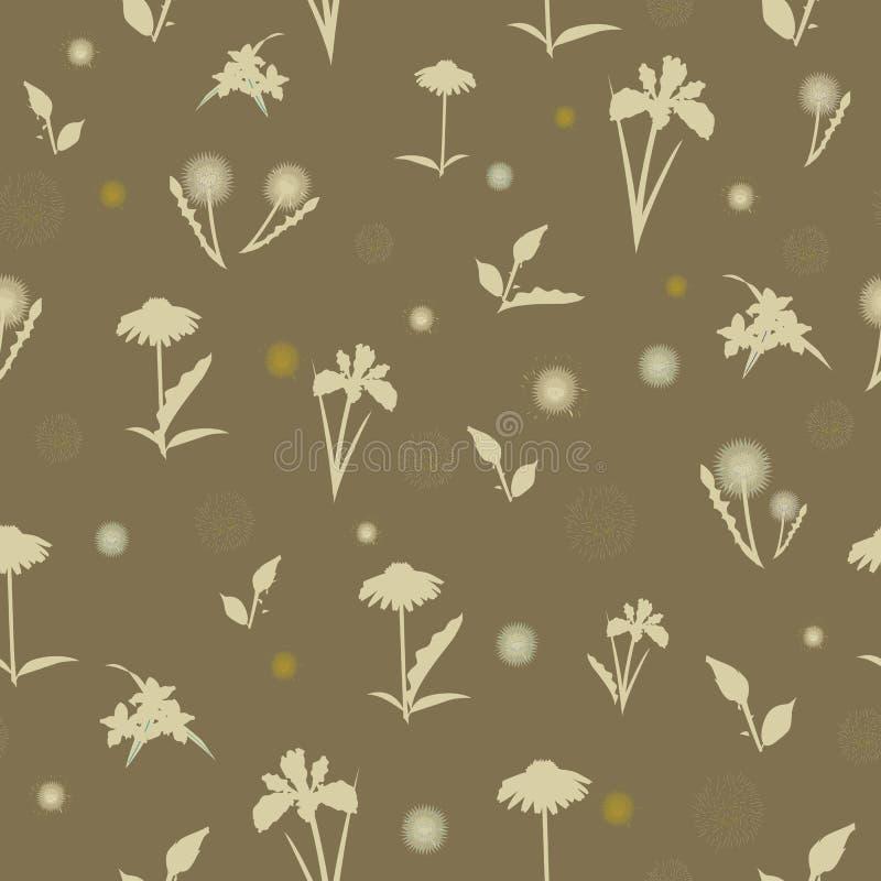 Элегантная безшовная картина с нарисованными рукой декоративными цветками гибискуса, элементами дизайна бесплатная иллюстрация