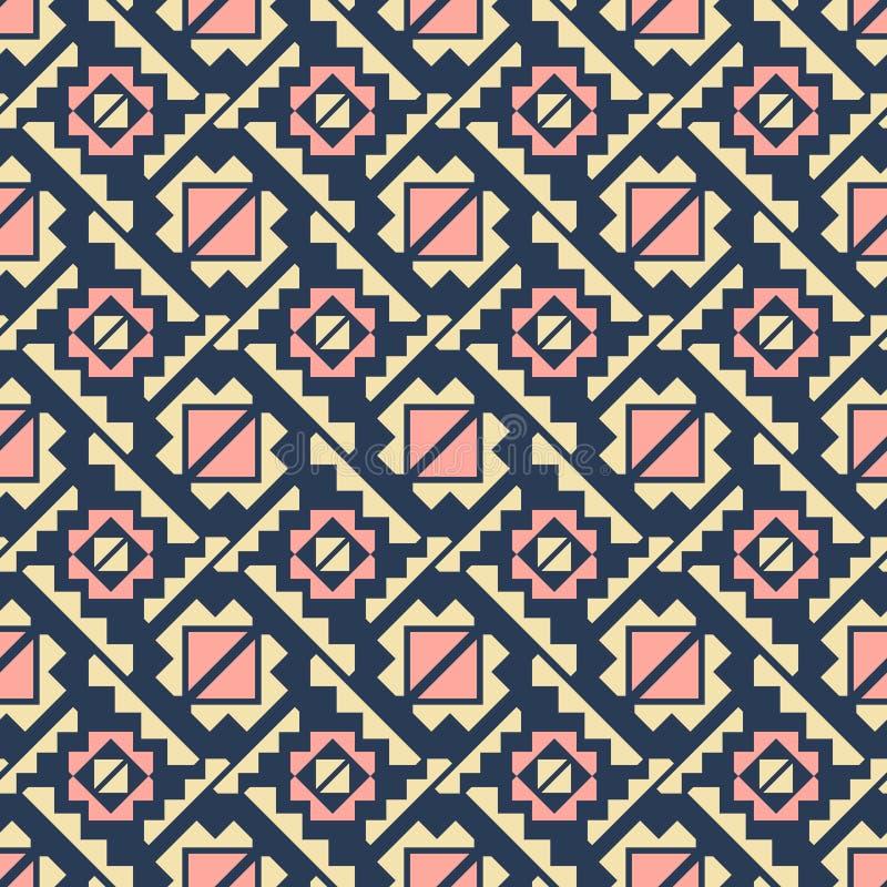 Элегантная безшовная печать моды в желтых, голубых, розовых цветах иллюстрация штока