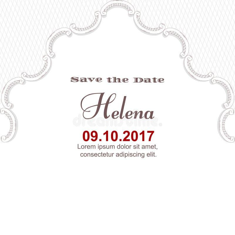 Элегантная белая винтажная карточка на важная дата Покрашенный вручную орнамент в викторианском стиле Для печатать и дизайна бесплатная иллюстрация