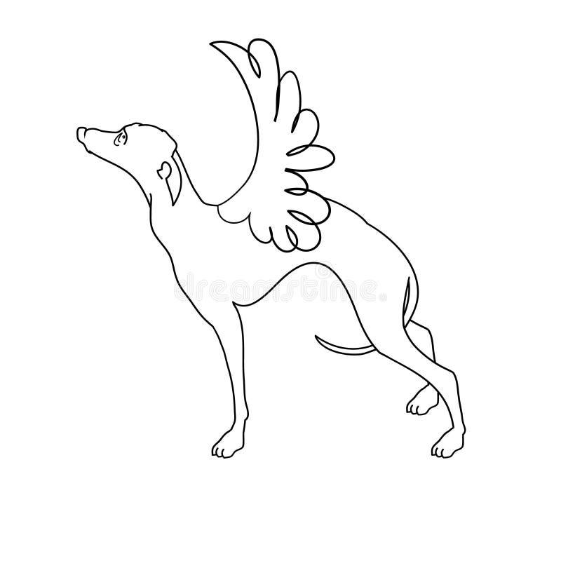 Элегантная борзая с крыльями нарисованными в одной линии Иллюстрация вектора собаки борзой руки вычерченной Красивые элементы диз иллюстрация вектора
