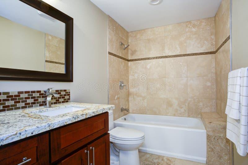 Элегантная ванная комната с тщетой запятнанной mahogany стоковые фото