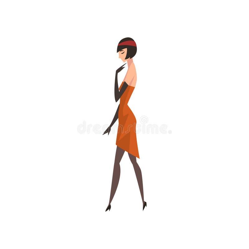 Элегантная женщина в красном ретро платье, красивая девушка 1920s, иллюстрация брюнета язычка вектора стиля стиля Арт Деко бесплатная иллюстрация