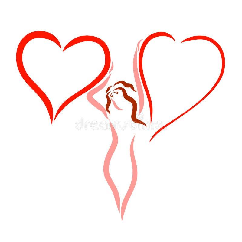 Элегантная женщина и 2 сердца для записи, логотипа иллюстрация вектора