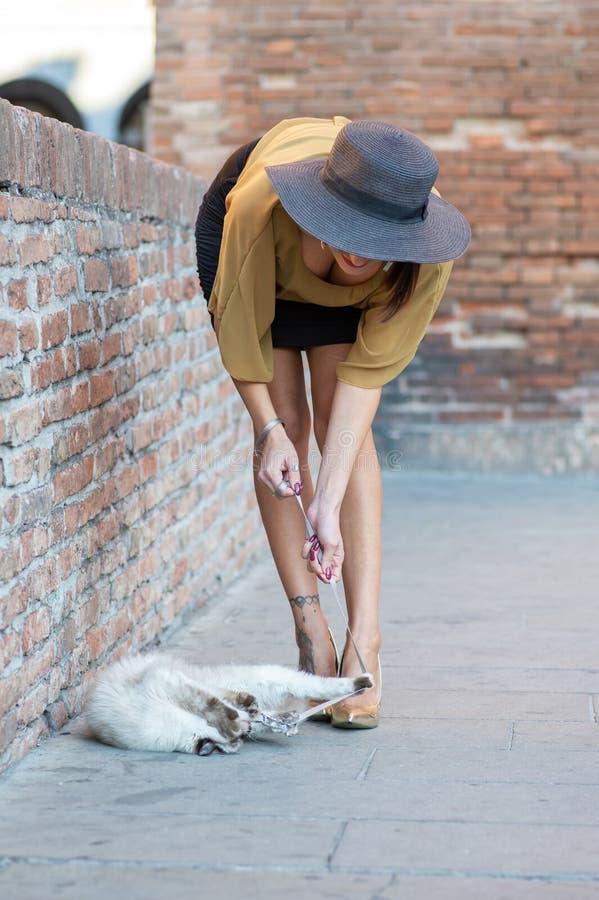Элегантная итальянская женщина с шляпой держит кота на поводке стоковая фотография rf