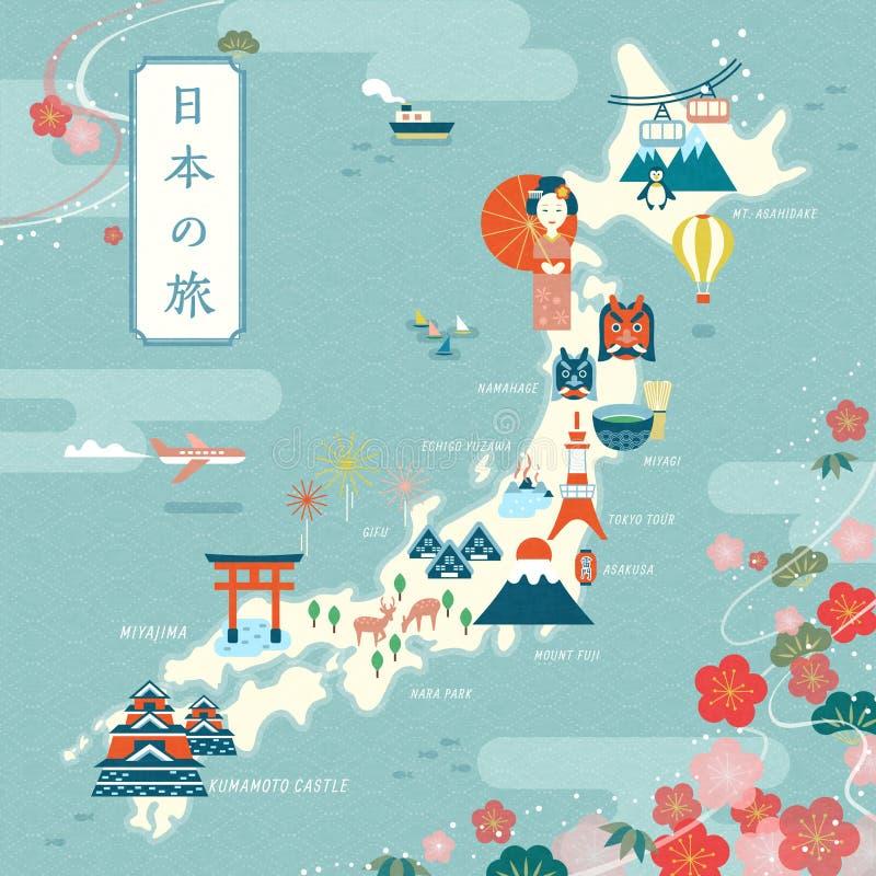 Элегантная карта перемещения Японии иллюстрация вектора