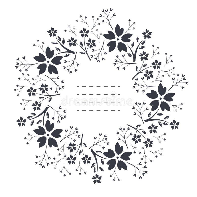Элегантная круглая рамка с цветками, листьями и ягодами бесплатная иллюстрация