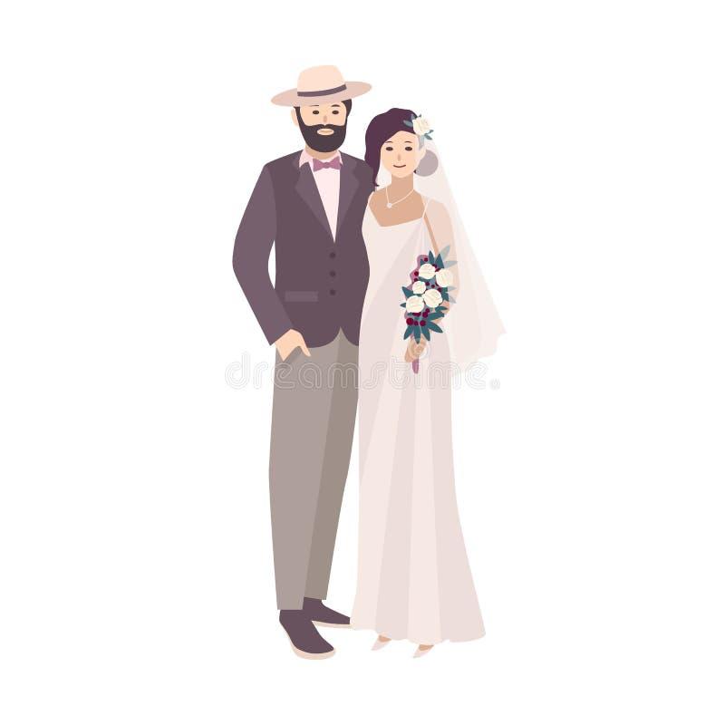 Элегантная невеста одела в причудливой винтажных мантии и groom нося стильные костюм и шляпу Любящие человек и женщина на свадьбе бесплатная иллюстрация