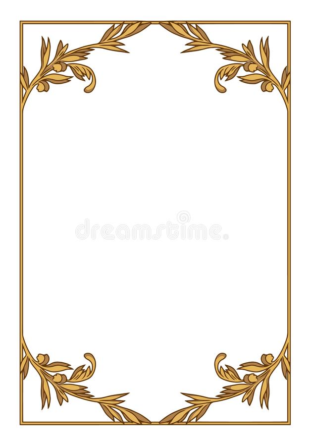 Элегантная орнаментальная золотая прозрачная иллюстрация границы вектора иллюстрация штока