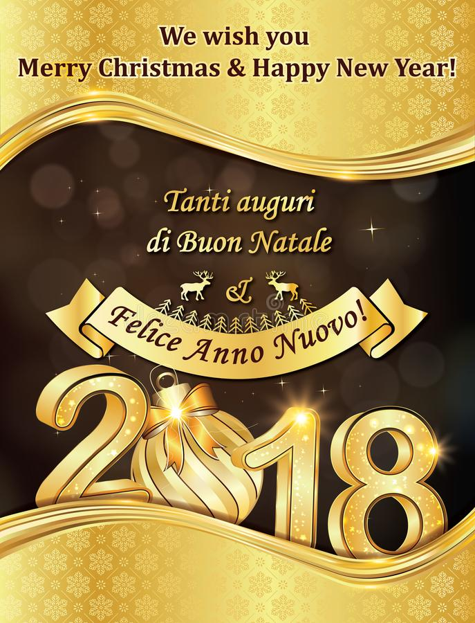 Элегантная поздравительная открытка зимнего отдыха с текстом в итальянском и английском бесплатная иллюстрация