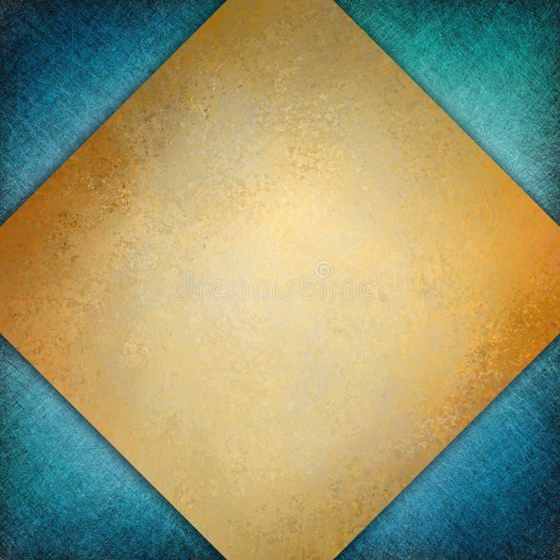 Элегантная предпосылка золота формы диаманта с текстурой на голубом угловом дизайне иллюстрация штока