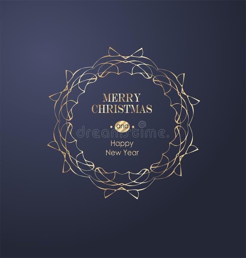 Элегантная предпосылка рождества с иллюстрацией вектора золота иллюстрация штока