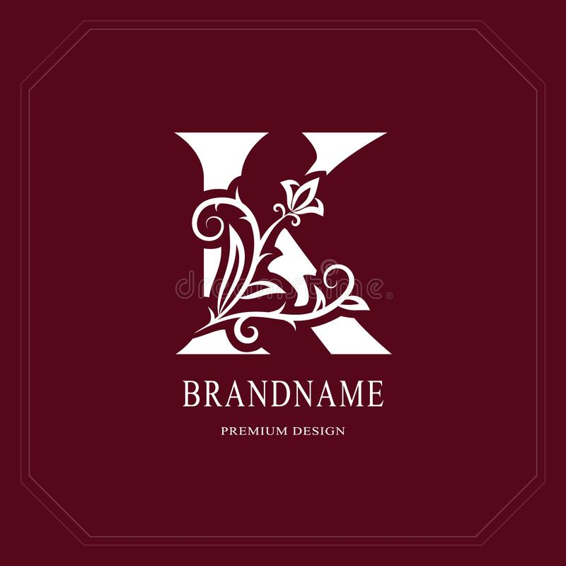 Элегантная прописная буква k Грациозно флористический стиль Каллиграфический красивый логотип Эмблема нарисованная годом сбора ви иллюстрация вектора