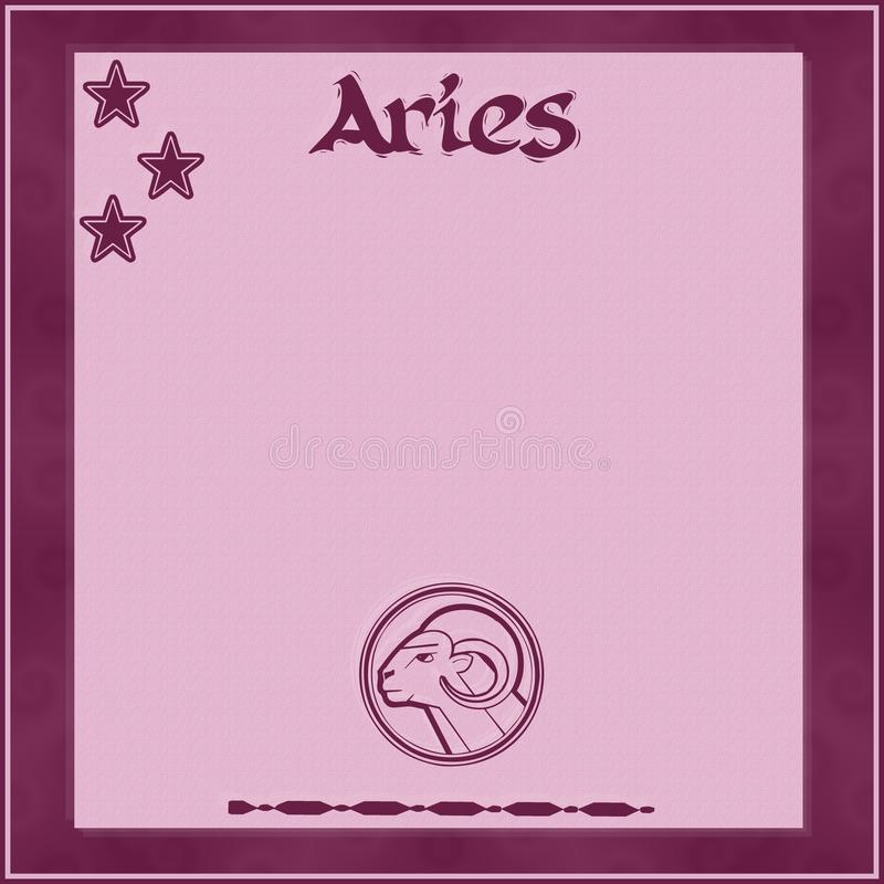 Элегантная рамка со знак-Aries зодиака стоковое изображение