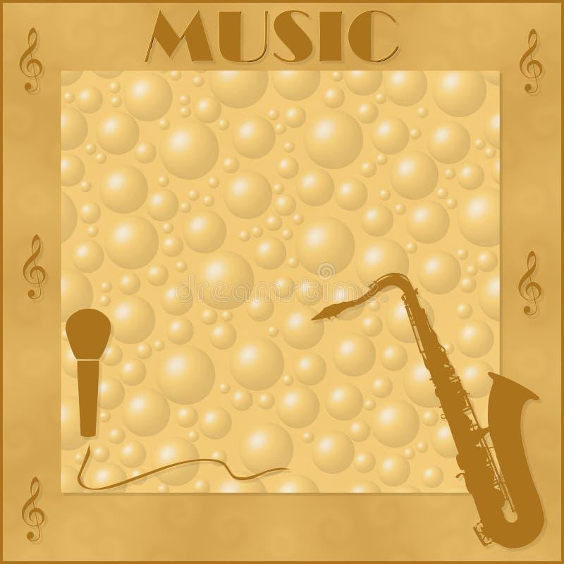 Элегантная рамка с музыкальными инструментами иллюстрация штока
