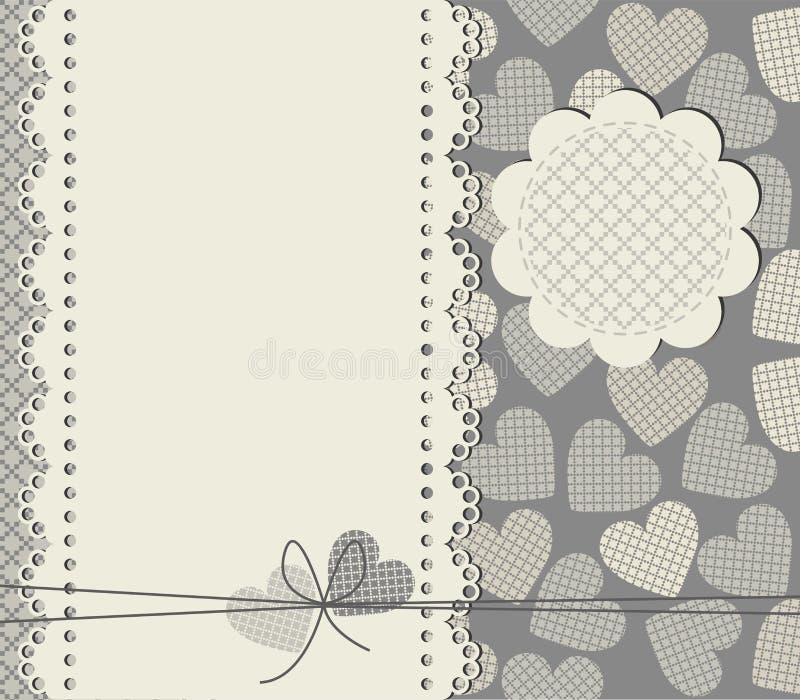 Элегантная рамка шнурка с сердцами иллюстрация штока