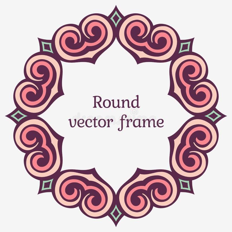 Элегантная роскошная рамка с богато украшенными границами Стильный круглый орнамент с местом для вашего текста бесплатная иллюстрация