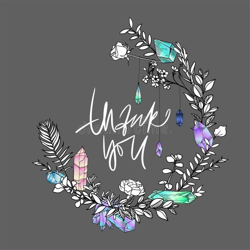 Элегантная спасибо карточка Эскиз boho Thankee нарисованный рукой Самоцветы, цветки и пер также вектор иллюстрации притяжки corel бесплатная иллюстрация