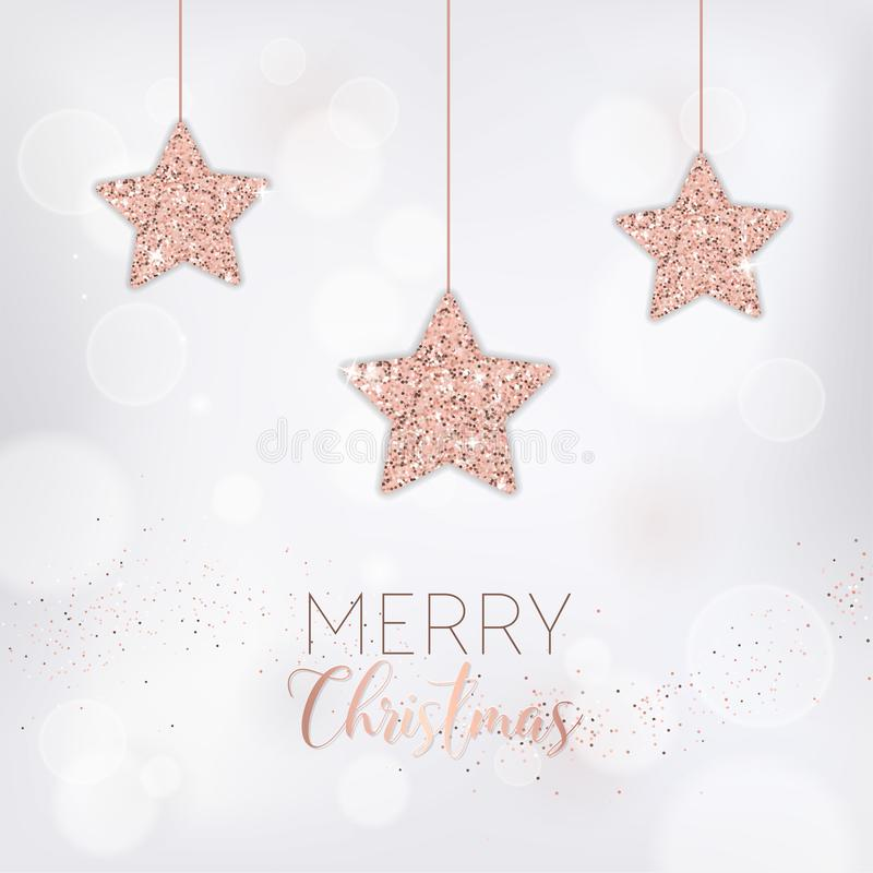 Элегантная с Рождеством Христовым рождественская открытка с розовым ярким блеском золота играет главные роли на приглашение или п иллюстрация вектора