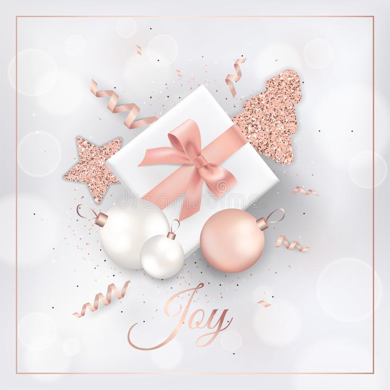 Элегантная с Рождеством Христовым рождественская открытка с шариками, звездами, рождественской елкой для приглашения или приветст бесплатная иллюстрация