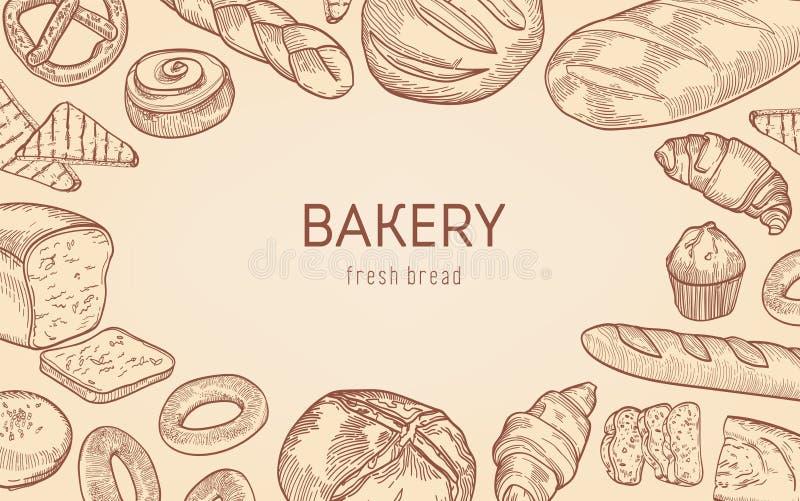 Элегантная monochrome предпосылка с рамкой сделанной из хлебов, сладких испеченных продуктов, домодельного печенья Реалистическая бесплатная иллюстрация