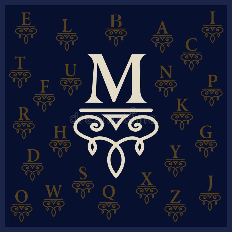 Элегантное письмо m Грациозно стиль Каллиграфический красивый логотип Эмблема нарисованная годом сбора винограда для дизайна книг иллюстрация вектора