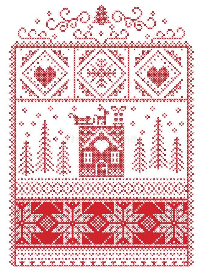 Элегантное рождество скандинавское, нордическая зима шить, картина стиля включая снежинку, сердце, северный оленя, сани, пряник h бесплатная иллюстрация