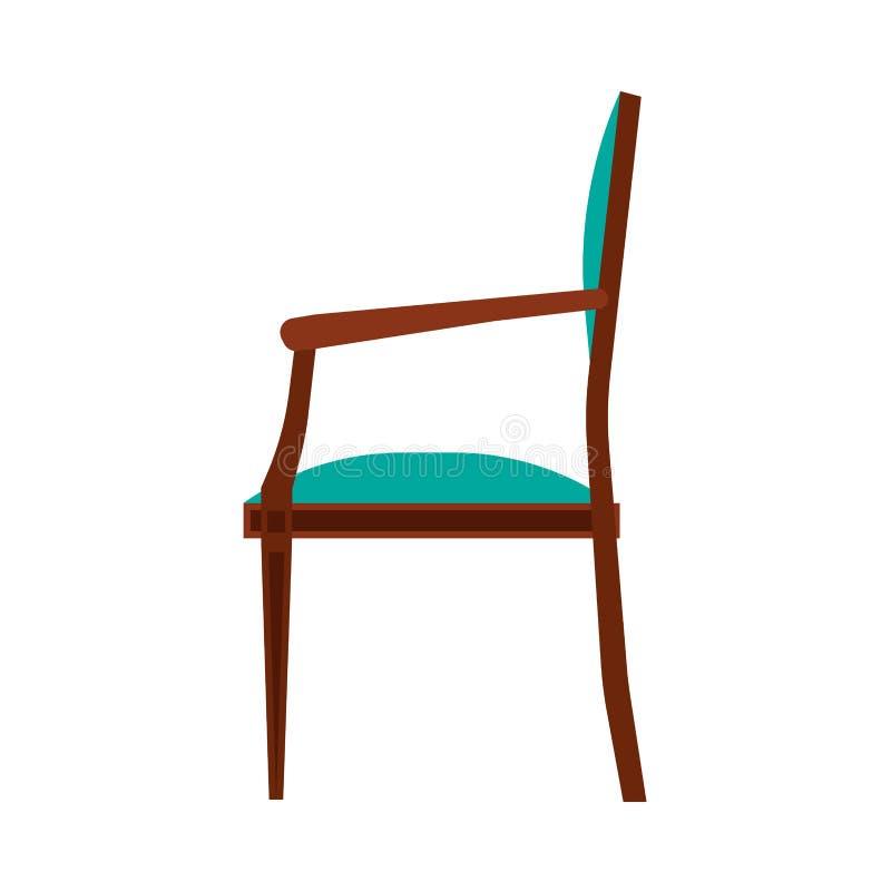 Элегантности взгляда со стороны стула ¡ Ð значок вектора мебели lassic удобной коричневый стильный Комната винтажного роскошного  бесплатная иллюстрация
