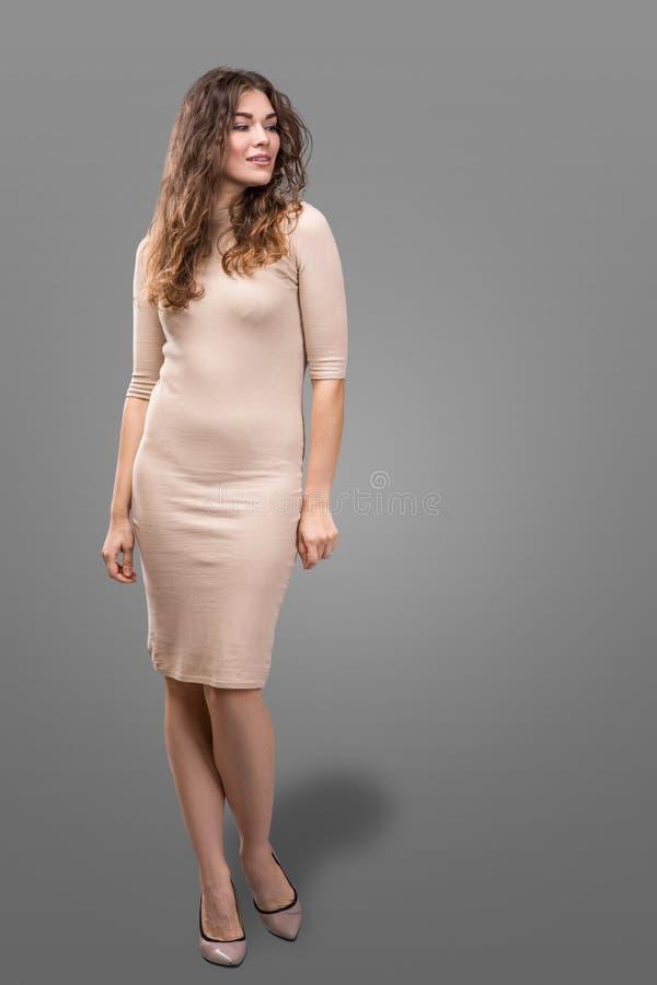 Элегантности костюма платья света носки волос брюнет формы тела женщины стиля моды hos воздуха секретарши совершенной бежевой вск стоковые фото
