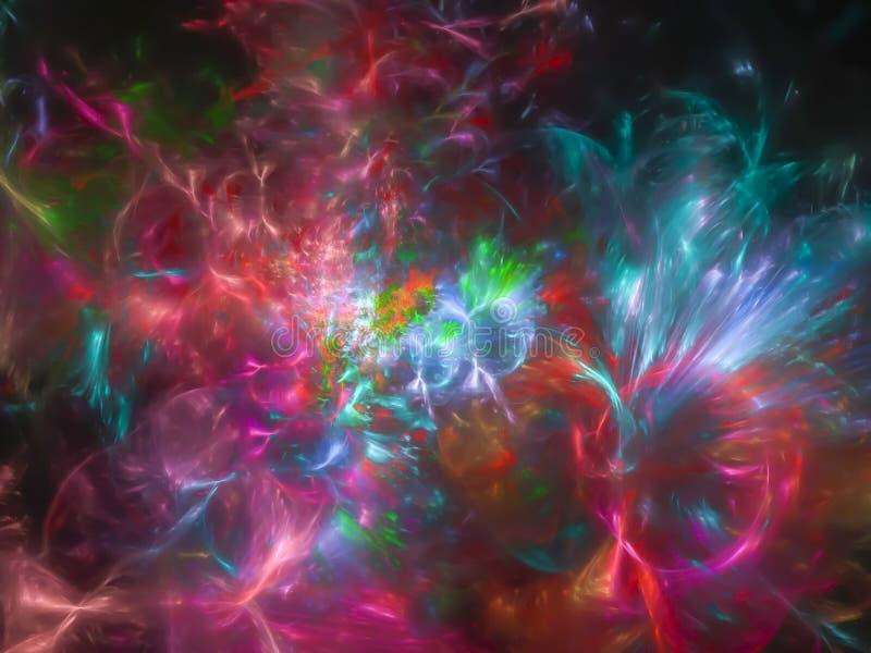 Элегантность воображения шаблона абстрактной фрактали красивая представляет волшебную волну рамки, дизайн цвета цифровой иллюстрация штока