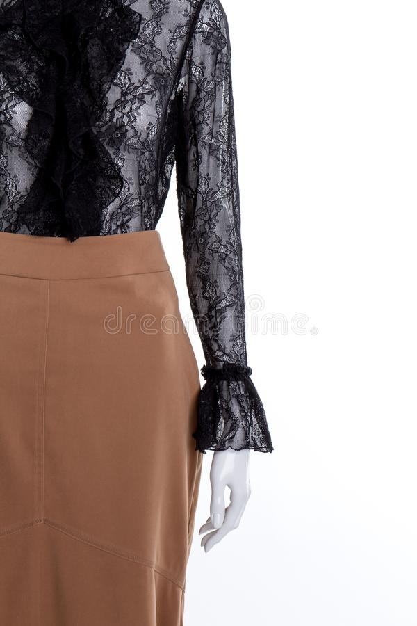 Элегантные блузка и юбка, космос экземпляра стоковые фото