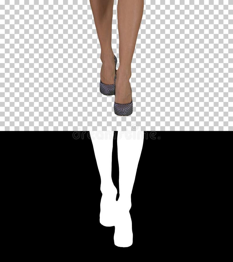 Элегантные женские ноги идя, канал альфы стоковое изображение rf