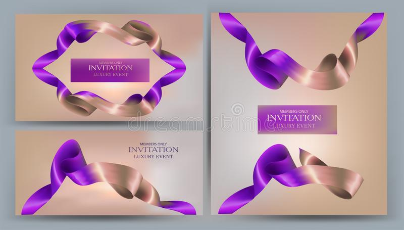 Элегантные знамена приглашения с 2 покрашенными лентами иллюстрация вектора
