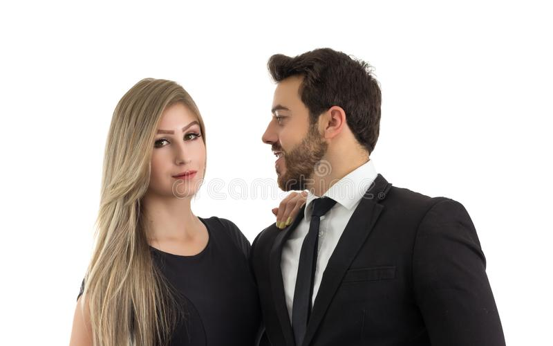 Элегантные пары одетые для свадьбы Портрет стоковое фото rf