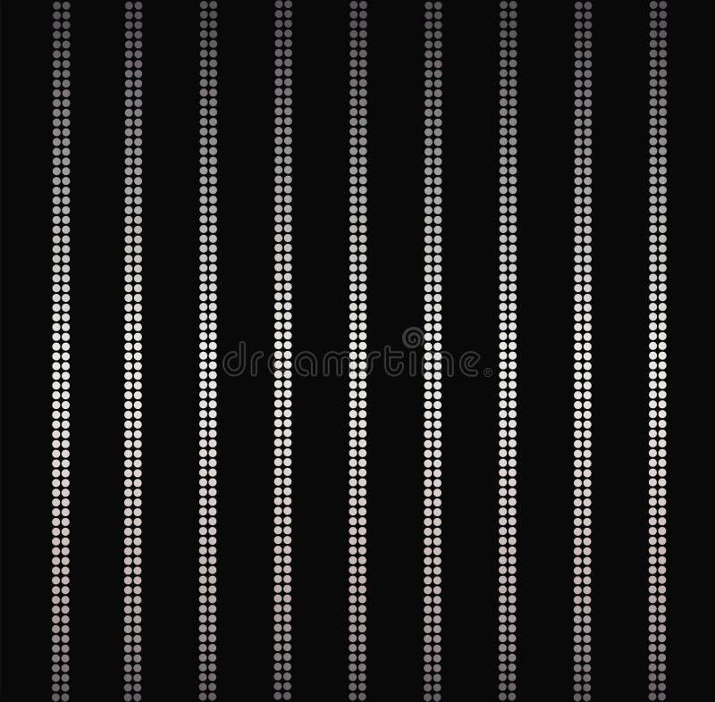 Элегантные серебряные сияющие вертикальные линии, занавес очарования предпосылки нашивок изолированный на черноте иллюстрация штока