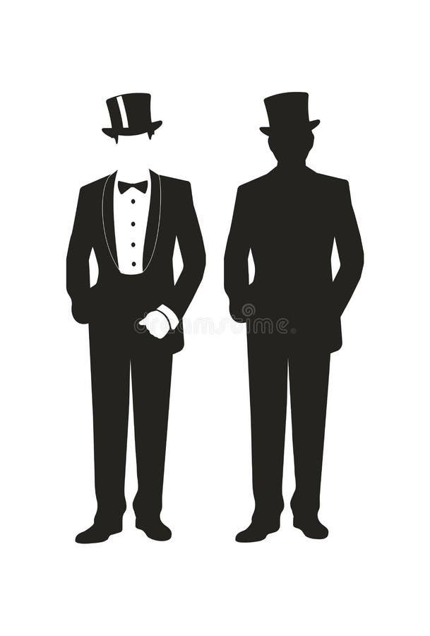 Элегантный джентльмен в модном костюме иллюстрация штока