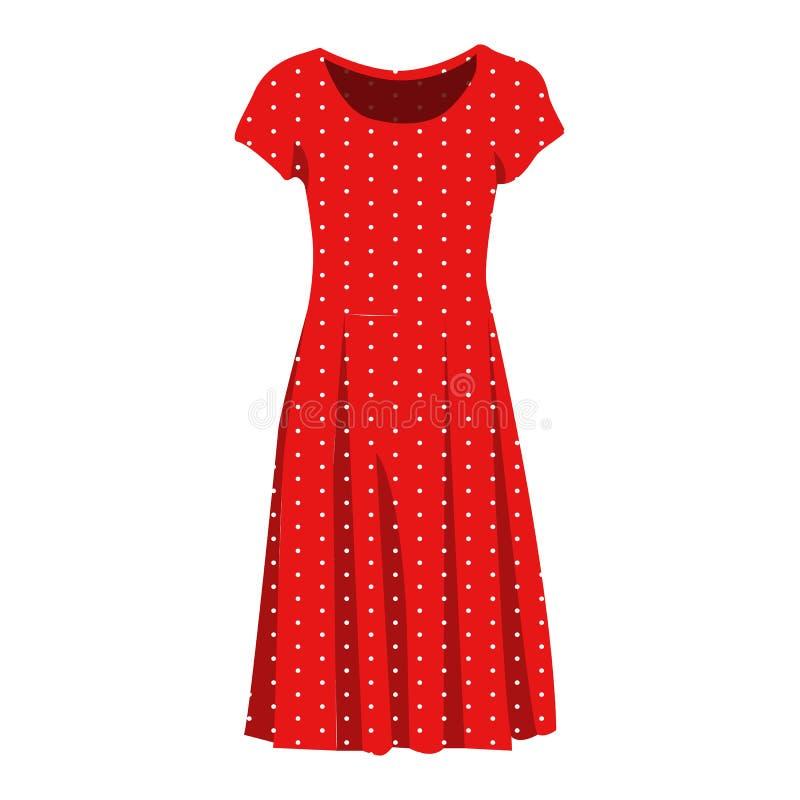 Элегантный красный значок вектора платья на белой предпосылке Иллюстрация мантии женщины изолированная на белизне Платье точки по иллюстрация вектора