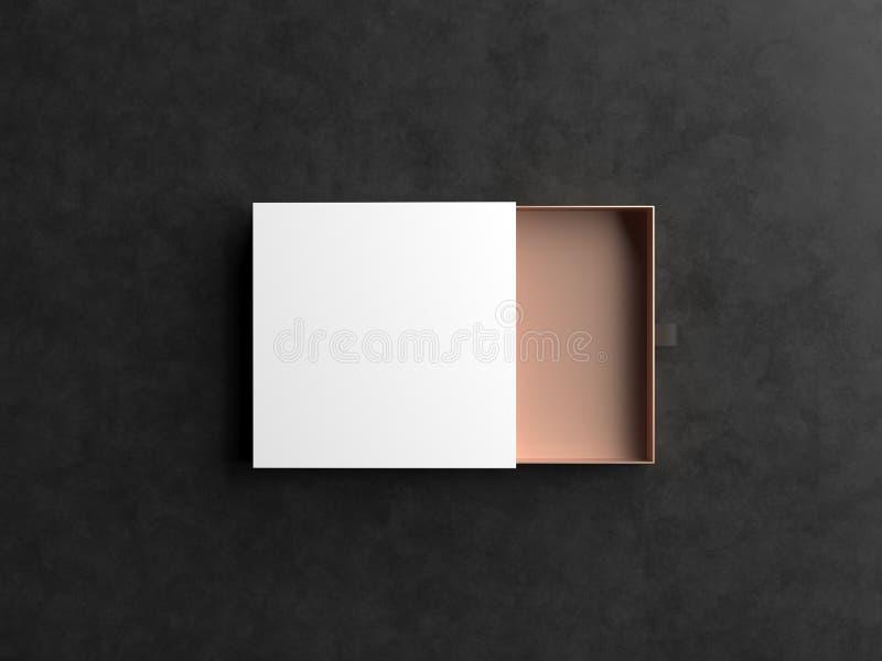 Элегантный открытый модель-макет белых и золота подарочной коробки на черной предпосылке Роскошная упаковывая коробка для наградн иллюстрация вектора