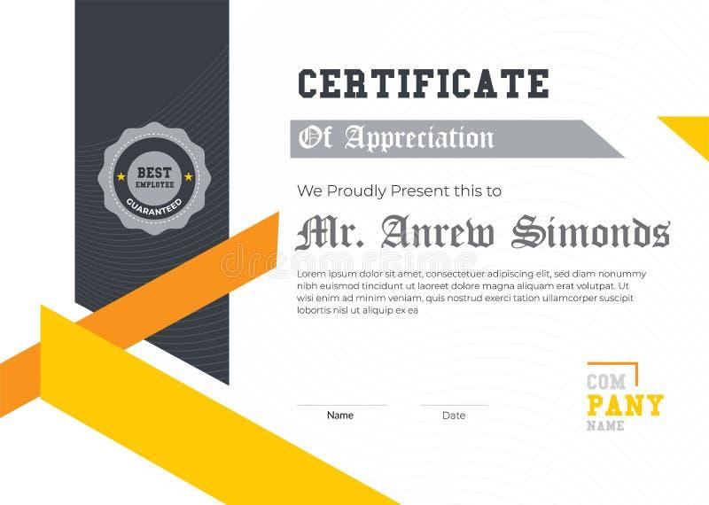 Элегантный сертификат шаблона благодарности Ультрамодный геометрический дизайн Наслоенный вектор eps10 r стоковые изображения