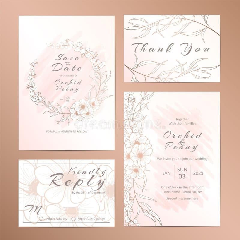 Элегантный флористический законспектированный набор шаблона приглашения свадьбы иллюстрация штока