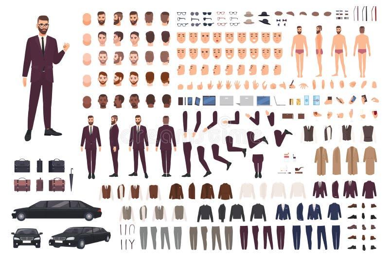 Элегантный человек одел в деле или умном комплекте творения костюма или наборе DIY Собрание частей тела, стильных одежд, сторон бесплатная иллюстрация