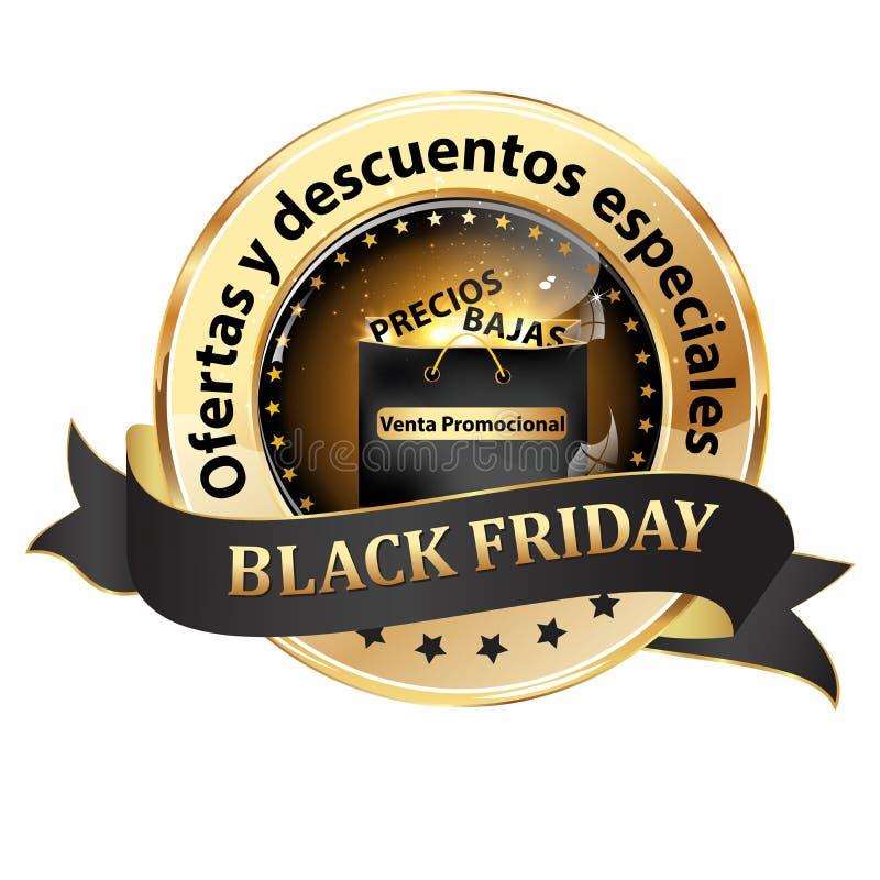 Элегантный черный и золотой значок пятницы черноты ленты конструировал для испанского розничного рынка бесплатная иллюстрация