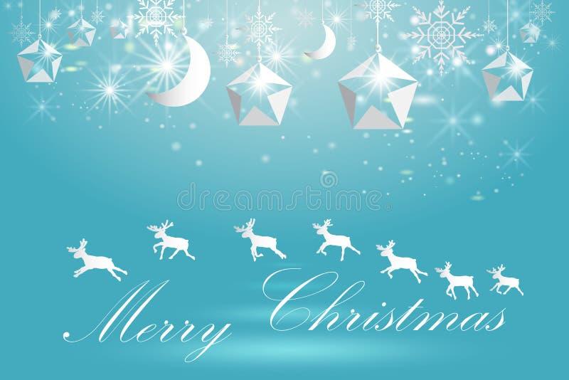 Элегантный шаблон плаката рождества с снежинками и оленями бесплатная иллюстрация
