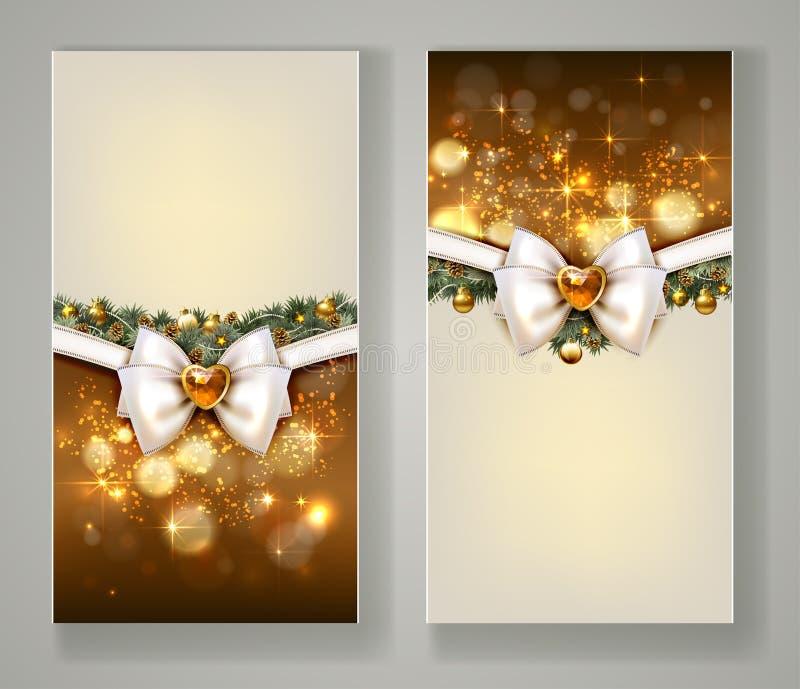 2 элегантных поздравительной открытки рождества с смычком и ювелирными изделиями бесплатная иллюстрация