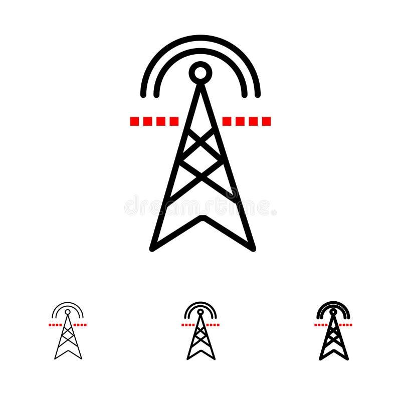 Электрическая башня, электричество, сила, башня, вычисляющ смелую и тонкую черную линию набор значка иллюстрация вектора