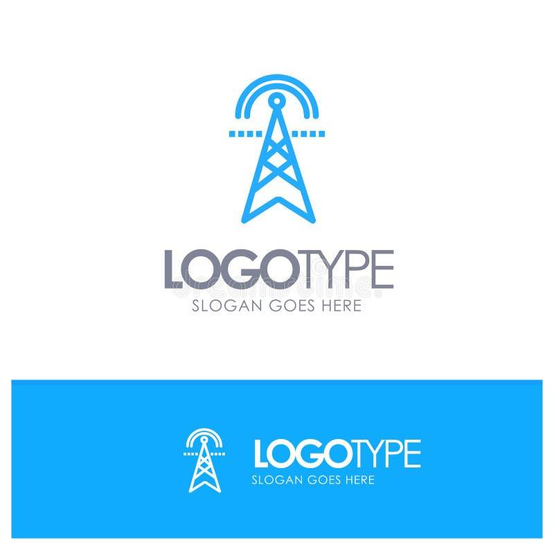 Электрическая башня, электричество, сила, башня, вычисляя голубая линия стиль логотипа иллюстрация вектора