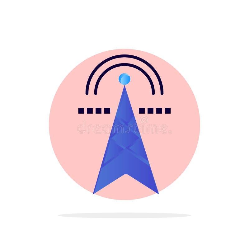 Электрическая башня, электричество, сила, башня, вычисляя значок цвета абстрактной предпосылки круга плоский иллюстрация вектора