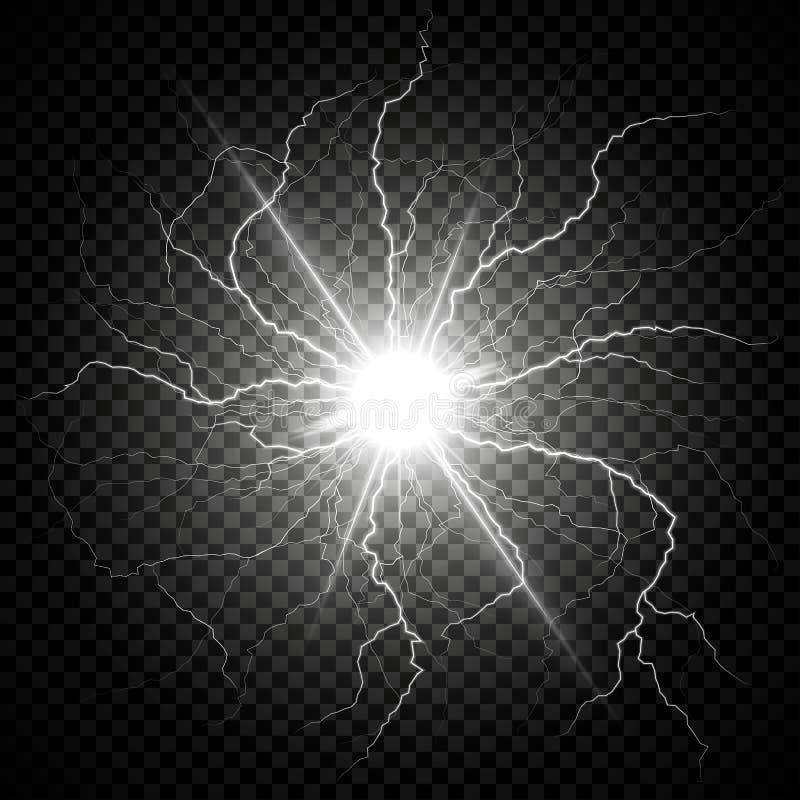 Электрическая вспышка молнии на темной прозрачной предпосылке вектор бесплатная иллюстрация